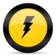 bolt black yellow web icon - stock illustration