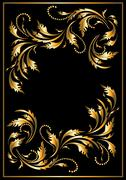 Gold  frame in the Gothic style - stock illustration