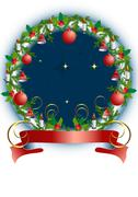 Stock Illustration of Christmas is round  frame with toys and holly wreath.