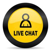 Live chat black yellow web icon Stock Illustration