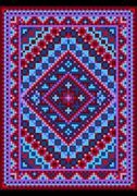 Vivid carpet old style in blue and purple shades - stock illustration
