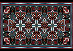 Stock Illustration of Design ethnic rug in dark bright colors