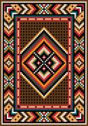 Asian design in the frame for carpet. - stock illustration
