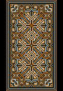 Oriental design in the frame for carpet. - stock illustration