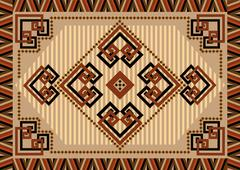 Decorative carpet designs in oriental sytle - stock illustration