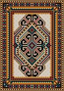 Oriental design in the frame for carpet - stock illustration