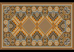 Oriental rug in warm orange brown nuances - stock illustration