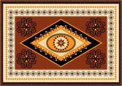 Decorative rug designs in oriental style - stock illustration