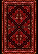 Bright carpet in the old style with red and burgundy shades - stock illustration