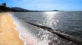 Soft sea wave washes sandy beach Footage