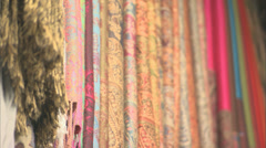 Scarves in a Moroccan market Stock Footage