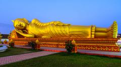 pha that luang, great stupa in vientine, laos - stock photo