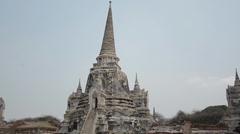 Panning shot - Wat Phra Si Sanphet in Ayutthaya Stock Footage