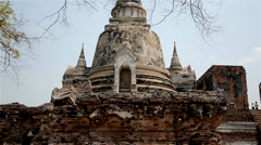 One of the three large chedis of Wat Phra Sri Sanphet at the ruins of Ayutthaya - stock footage
