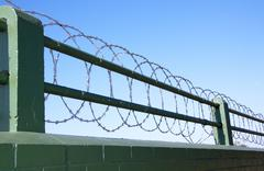 Coiled razor wire barrier atop green painted brick wall Stock Photos