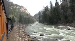 Antique coal steam railroad along mountain river HD 135 Stock Footage