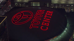 Toyota Center Front Aerial Stock Footage