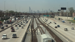 Chicago freeway traffic and rail transit system 4K Stock Footage