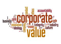 corporate value word cloud - stock illustration