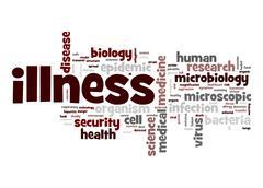 illness word cloud - stock illustration