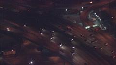 Freeway cars night Stock Footage