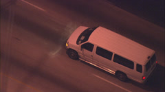 White van freeway Stock Footage
