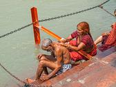 Stock Photo of Pilgrim couple in Haridwar