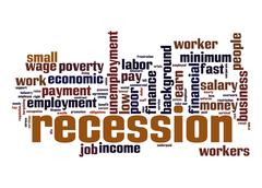 Stock Illustration of recession word cloud