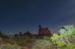 windows arches national park at night - stock photo