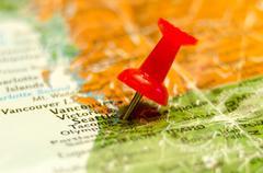 seattle wa city pin on the map - stock photo