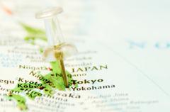 Tokio kaupunki pin kartalla Kuvituskuvat