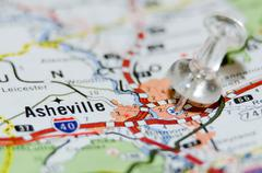 Asheville city pin on the map Stock Photos