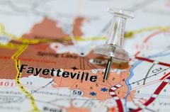Fayetville north carolina city pin on the map Stock Photos