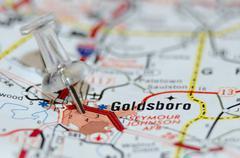 Goldsboro city pin on the map Stock Photos