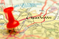Charlotte qc city pin on the map Stock Photos