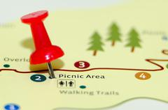 Picnic area pin on the map Stock Photos