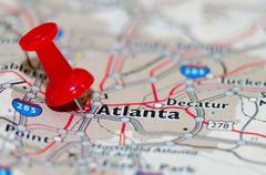 Atlanta georgia kaupunki pin kartalla Kuvituskuvat