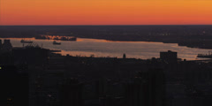Red Epic - Sunrise with River and Ships Stock Footage