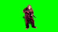 Bigfoot - Rifle - Green Screen Stock Footage