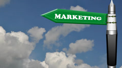 Marketing road sign with flowing clouds Stock Footage