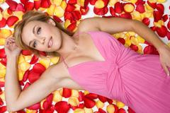 Rose petals woman Stock Photos