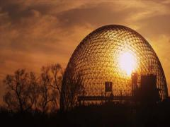 Sunset in montreal biosphere structure - stock footage