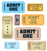 set of ticket admit one vector - stock illustration