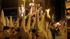 Night procession during Semana Santa in Alicante. Stock Footage