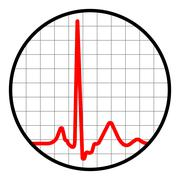 Cardiogram icon. Black and red. EPS 8 Stock Illustration