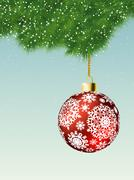Fit-tree branch with red christmas ball. EPS 8 Stock Illustration