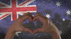 Hands Heart Symbol Australian Flag Stock Footage
