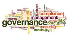 Stock Illustration of governance and compliance in word tag cloud