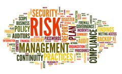 Risk and compliance in word tag cloud Stock Illustration