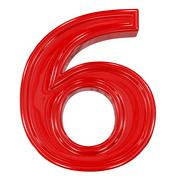 3d shiny red font made of plastic or ceramic - figure number six. isolated on Stock Photos